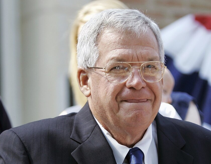 FILE - In this Aug. 17, 2007, file photo, former House Speaker Dennis, Hastert, R-Ill., announces that he will not seek re-election for a 12th term in Yorkville, Ill. Federal prosecutors have indicted Thursday, May 28, 2015, the former U.S. House Speaker on bank-related charges. (AP Photo/Brian Ker
