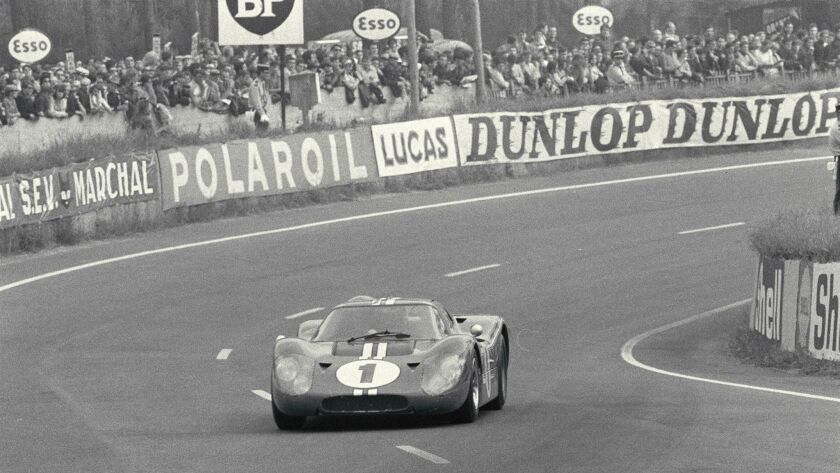 Dan Gurney and AJ Foyt in the Ford GT40 Mark IV in the esses of the 1967 24 Hours of Le Mans.