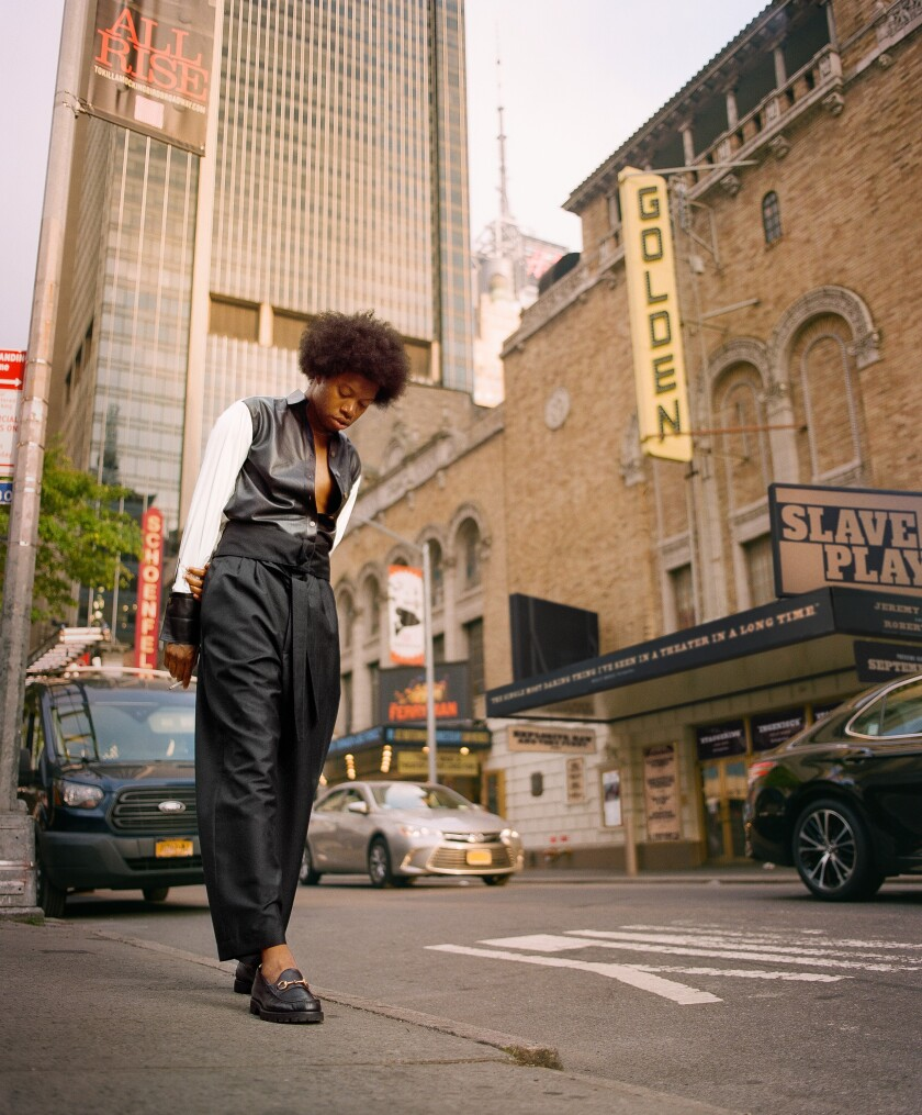 """Playwright Jeremy O. Harris, photographed outside Broadway's John Golden Theatre where his """"Slave Play"""" has been the buzz of the fall season."""