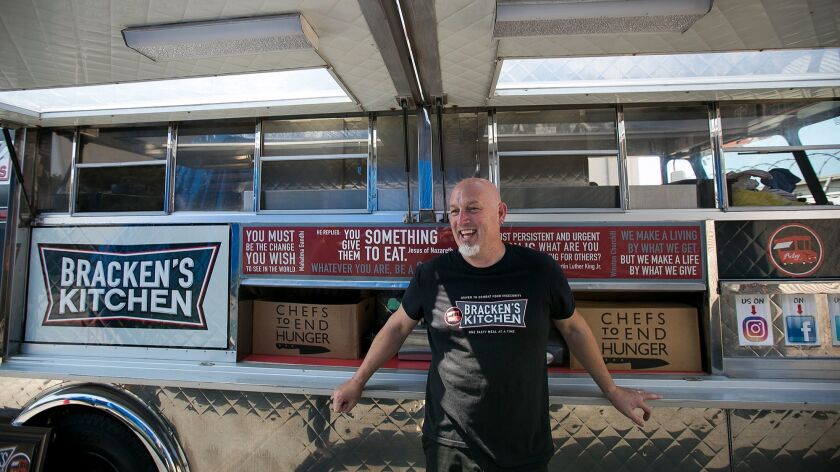 Bill Bracken, founder of Bracken'™s Kitchen, uses a food truck to get meals to the people who need t