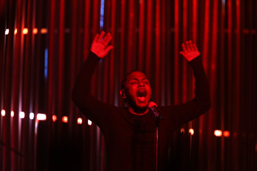 """Kendrick Lamar is shown in November at """"Kunta's Groove Session"""" tour at the Wiltern Theatre."""