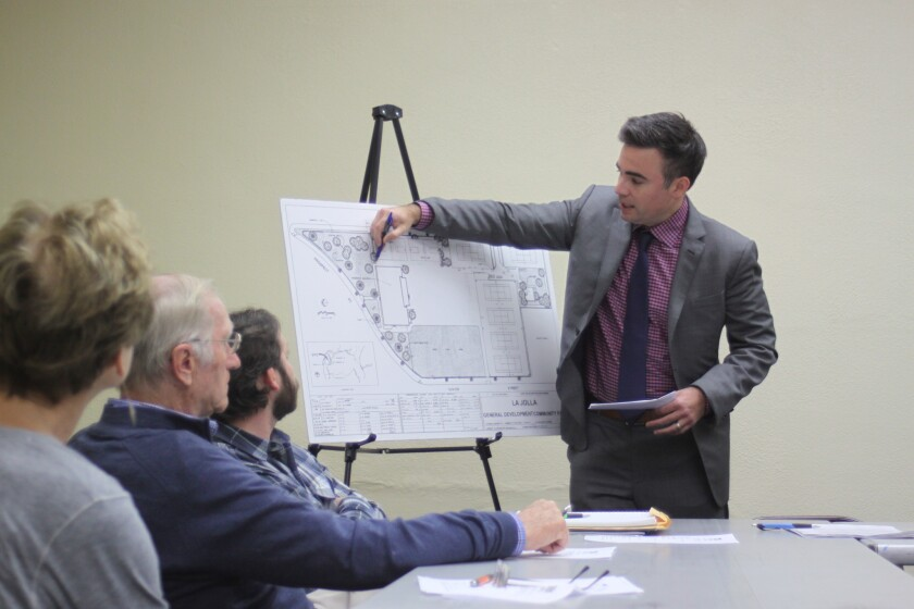 Dan McChandless shows how the La Jolla Rec Center playground could be rearranged to open up more play space in the center of the yard, during the La Jolla Park & Rec meeting, Jan. 31.