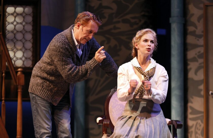 "Sean Murray and Allison Spratt Pearce rehearse a scene from Cygnet Theatre's ""My Fair Lady."""