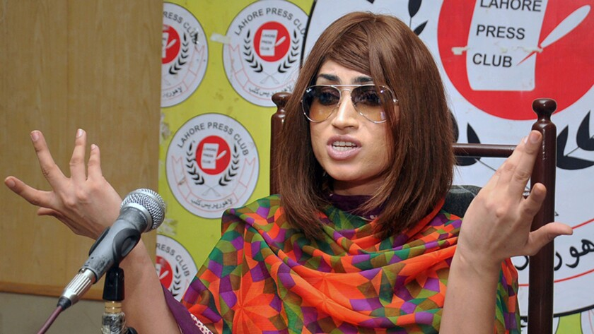 Qandeel Baloch speaks at a June 28 news conference in Lahore.