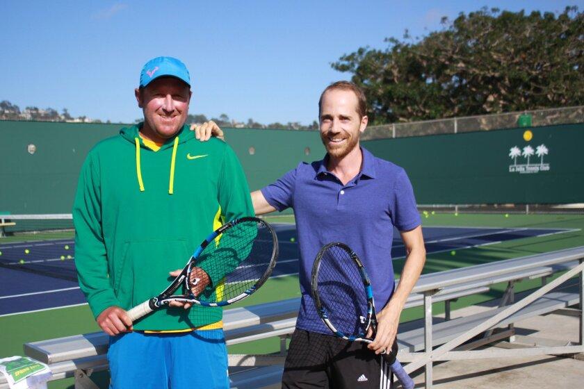 Tennis instructors Brent Davis and Michael Bucher