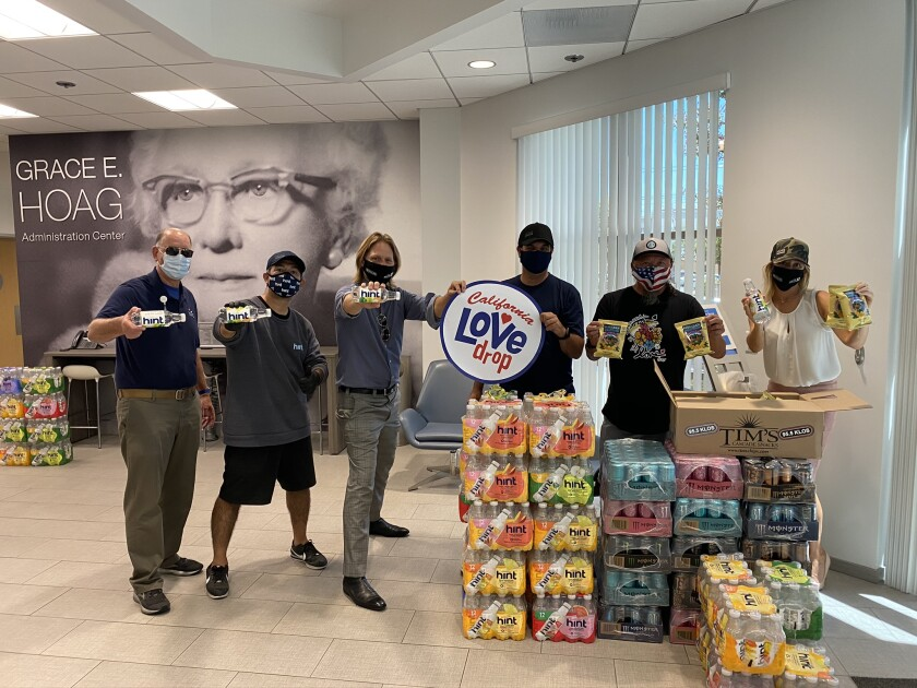 The California Love Drop crew deliver drinks and snacks to healthcare workers at Hoag Hospital.