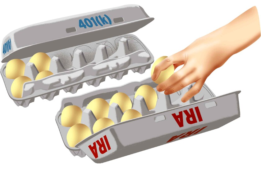 Illustration shows a hand moving eggs from a carton marked 401(k) to a carton marked IRA.