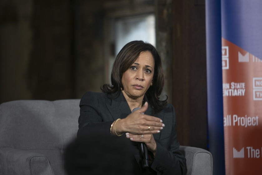 2020 presidential candidate Senator Kamala Harris, participated in a forum by formerly incarcerated leaders at historic Eastern State Penitentiary in Philadelphia, Pa., on Monday, Oct. 28, 2019 (Miguel Martinez/The Philadelphia Inquirer via AP)