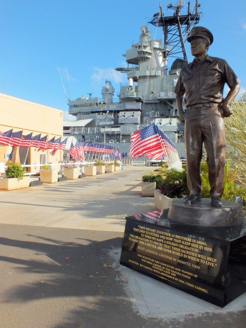 A statue of Gen. Douglas MacArthur stands outside the Battleship Missouri Memorial.. There's a charge to tour the ship, located across Pearl Harbor from the National Park Service Visitor Center.