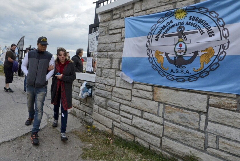 Relatives of crew members from the missing ARA San Juan submarine leave the navy base in Mar del Plata, Argentina, Thursday, Nov. 30, 2017.