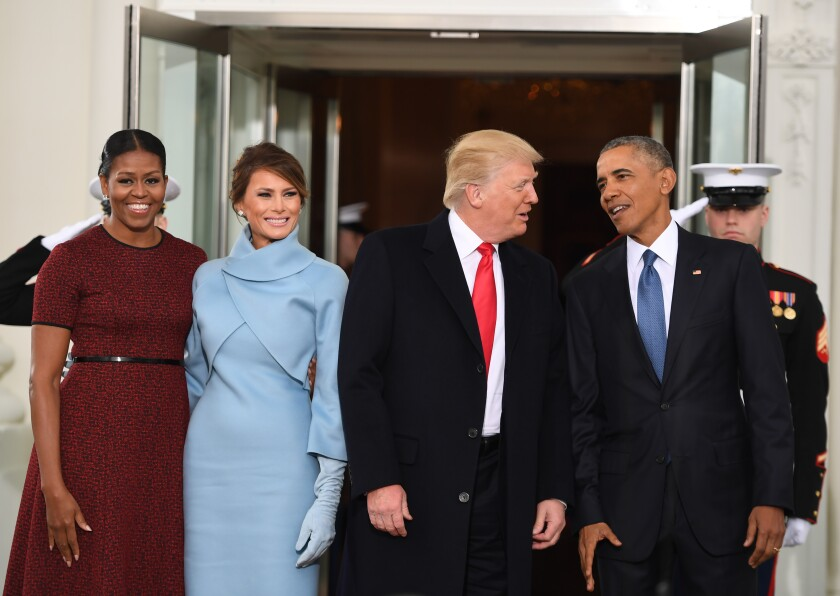 Michelle Obama, Melania Trump, President-elect Donald Trump and President Obama at the White House four years ago.