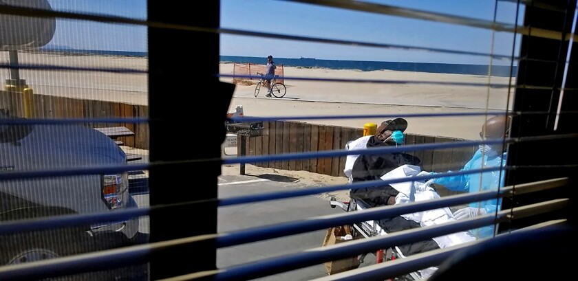 The view from a trailer at Dockweiler Beach RV Park, where Reggie Dominguez is quarantining.