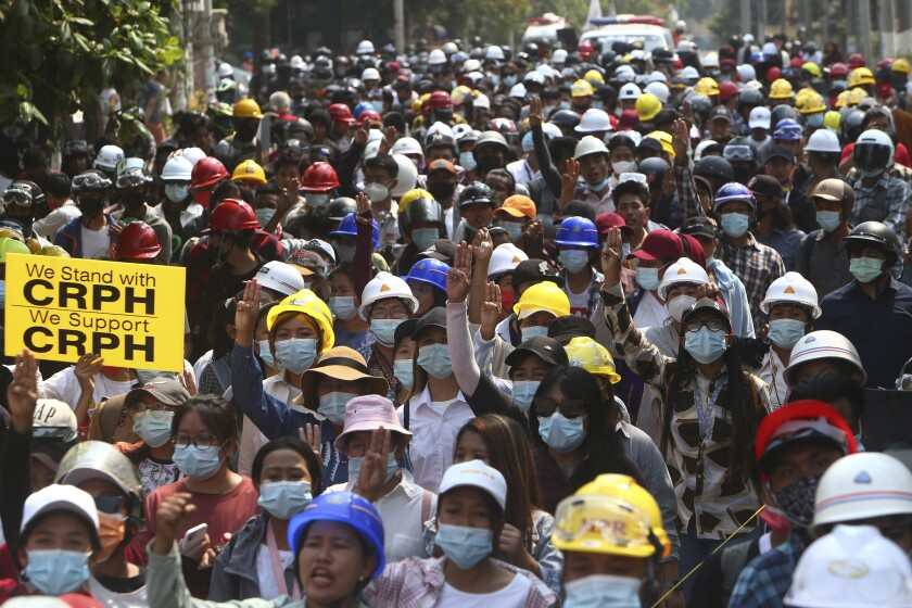 Protesters fill streets in Mandalay, Myanmar