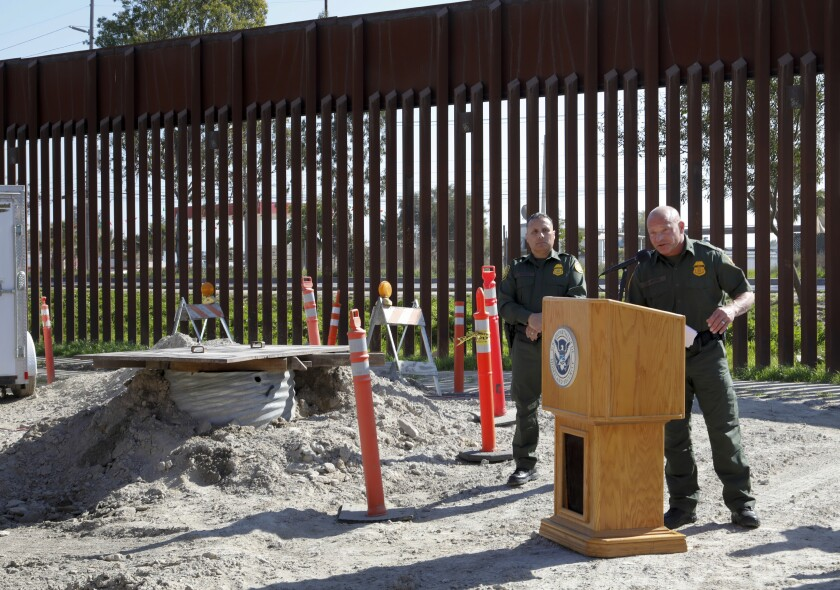 A week before being announced as the new chief of the San Diego Sector, then-Deputy Chief Patrol Agent Aaron Heitke answers questions from reporters at a news conference unveiling the longest cross-border drug tunnel in history.