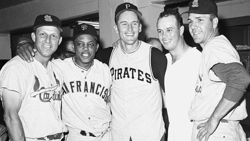 Stan Musial (left to right), Willie Mays, Vernon Law, Ed Mathews and Ken Boyer are all smiles following the NL's All-Star win at Yankee Stadium.