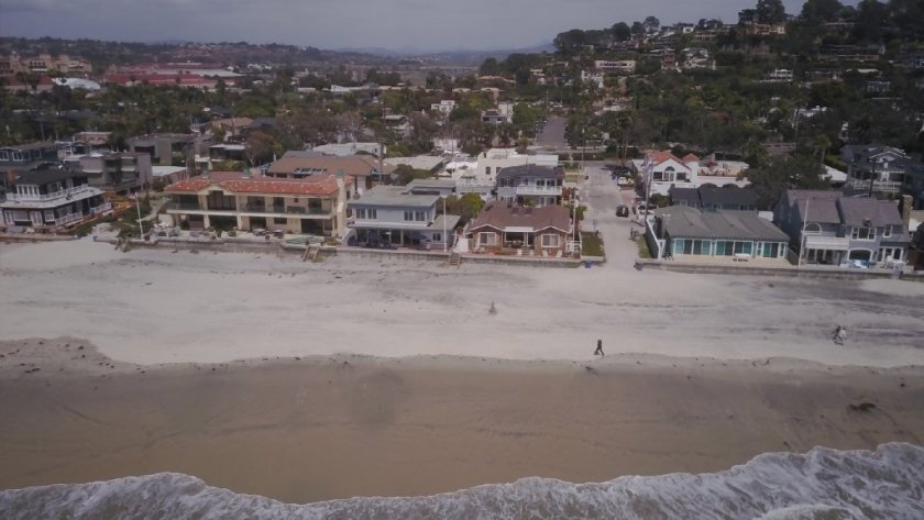 Homes along Ocean Front between Powerhouse Park and the San Dieguito River in Del Mar are threatened by rising sea levels.(
