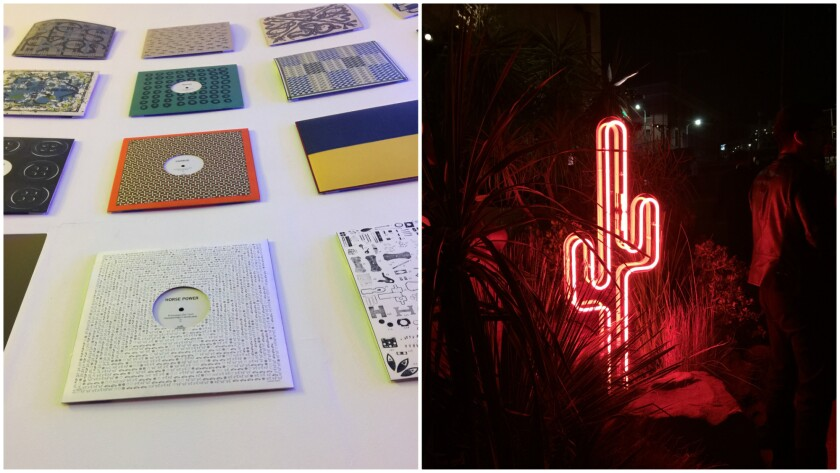 """At left, album sleeves showcase scarf prints in the """"Shake Me Up!"""" room. At right, a neon cactus accessorizes the party space at Hermès' Dwntwn Men event."""