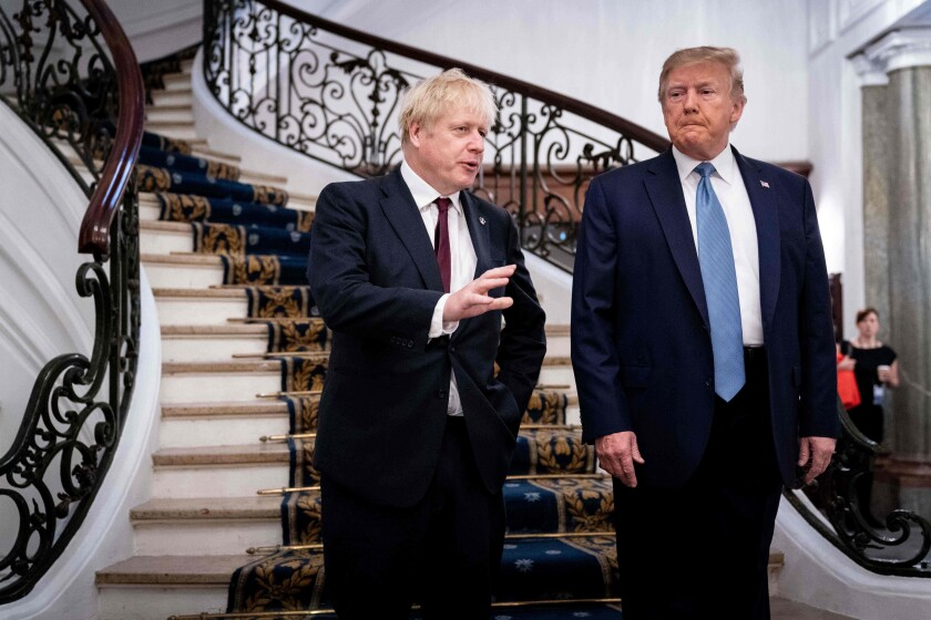 President Trump and Britain's Prime Minister Boris Johnson at the G-7 meeting in Biarritz, France