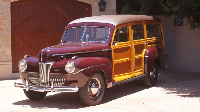 A 1941 Ford Woody super deluxe station wagon