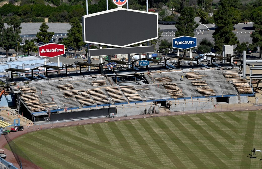 Construction crews continue work Feb. 12 on a $100-million renovation to Dodger Stadium.