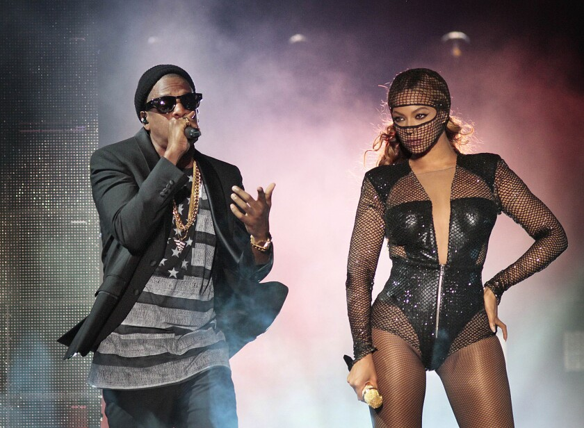 "Jay Z and Beyoncé perform during their ""On the Run"" tour at the Rose Bowl i"