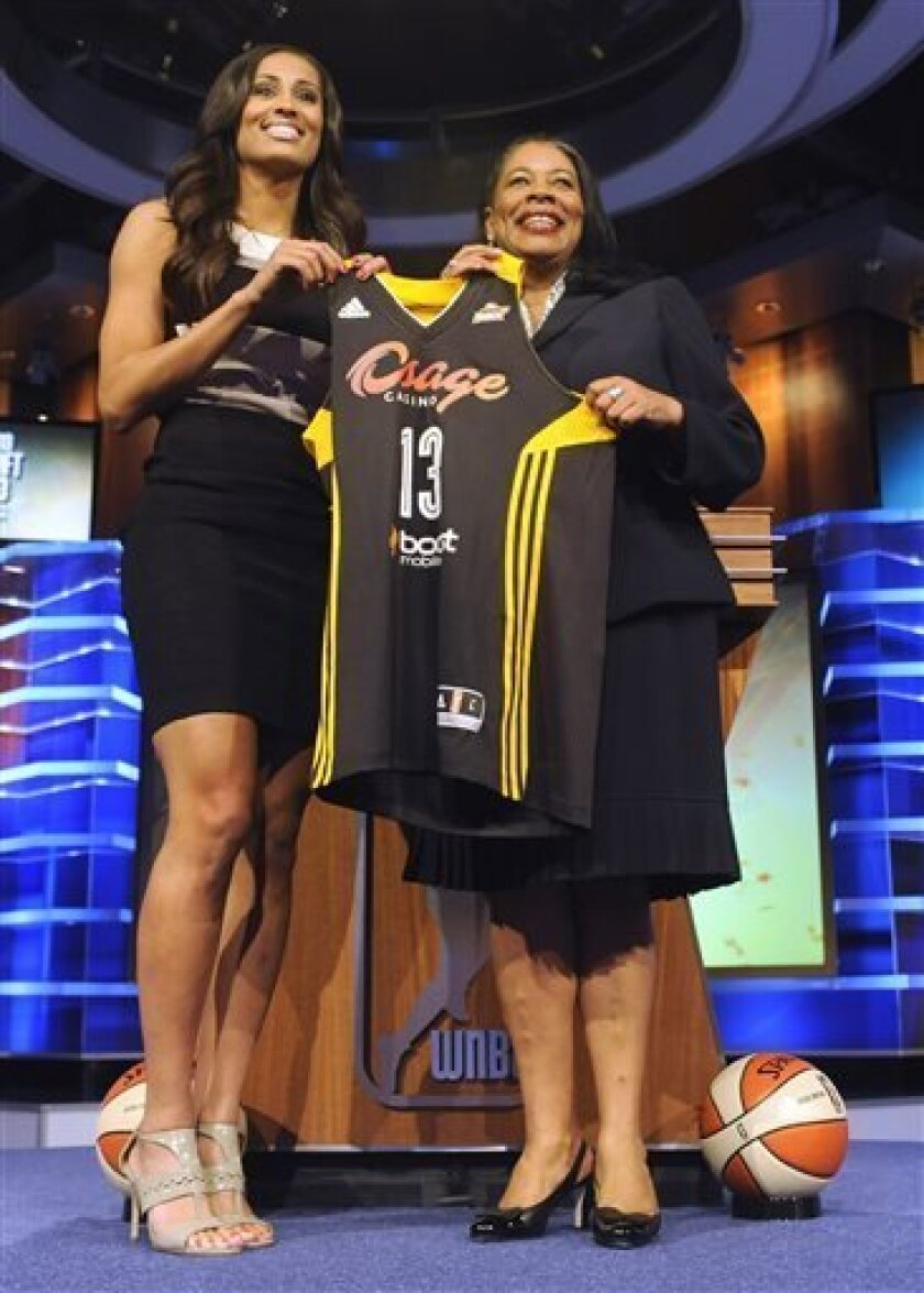 FILE - In this April 15, 2013, file photo, Notre Dame's Skylar Diggins holds up a Tulsa Shock jersey with WNBA President Laurel J. Richie after the Shock selected Diggins as the No. 3 oberall pick in the WNBA basketball draft in Bristol, Conn. The star guard at Notre Dame and No. 3 pick in the draft was introduced by the Shock on Saturday. (AP Photo/Jessica Hill, File)