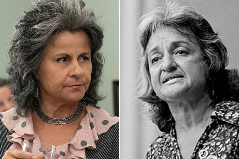 """Tracey Ullman, left, as Betty Friedan in """"Mrs. America,"""" and the real Betty Friedan in 1970."""