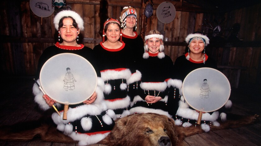 Kodiak Alutiiq dancers in traditional dress.