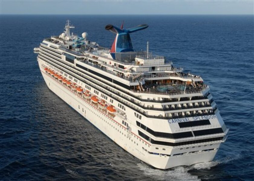 This photo released by the U.S. Navy shows the Carnival Splendor, a cruise ship stranded about 250 miles off the coast of California on Tuesday, Nov. 9, 2010. The ship, which left from Long Beach, Calif. on Sunday, was 200 miles south of San Diego when an engine room fire cut its power early Monday, according to a statement from Miami-based Carnival Cruise Lines. The ship began drifting off the coast of northern Baja California. Navy helicopters shuttled in supplies Tuesday to 4,500 passengers and crew members expected to remain stranded on the disabled cruise ship through Wednesday night. (AP Photo/U.S. Navy, Petty Officer 3rd Class Dylan McChord)