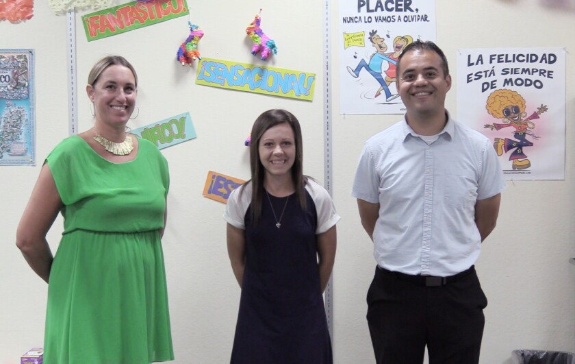 Del Mar Union School District Spanish teachers Whitney Botron, Linda Bonagura and Jessie Salas.