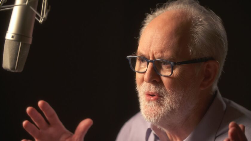 """John Lithgow in the studio recording """"Stories by Heart,"""" his one-man Broadway show. The expansion of audio productions are pushing theater outside of the theater."""