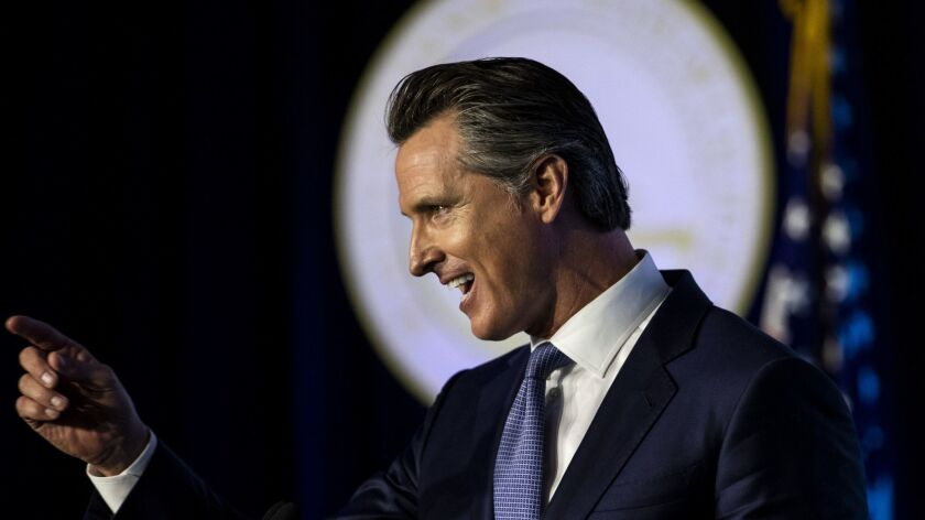 SACRAMENTO, CALIF. - JANUARY 07: California Governor Gavin Newsom speaks after being sworn in as the
