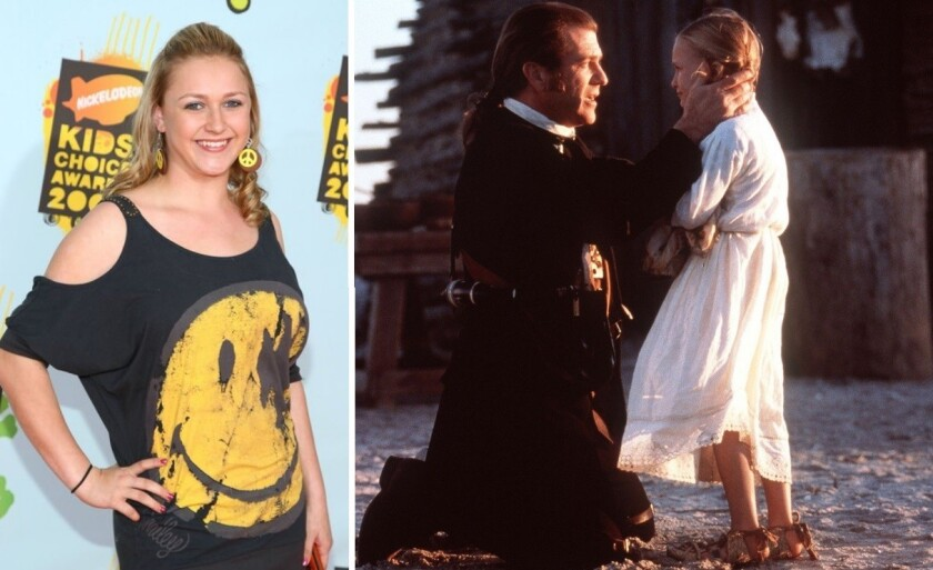 """Skye McCole Bartusiak, left, at Nickelodeon's 2008 Kids' Choice Awards and, right, with Mel Gibson in the 2000 movie """"The Patriot."""""""