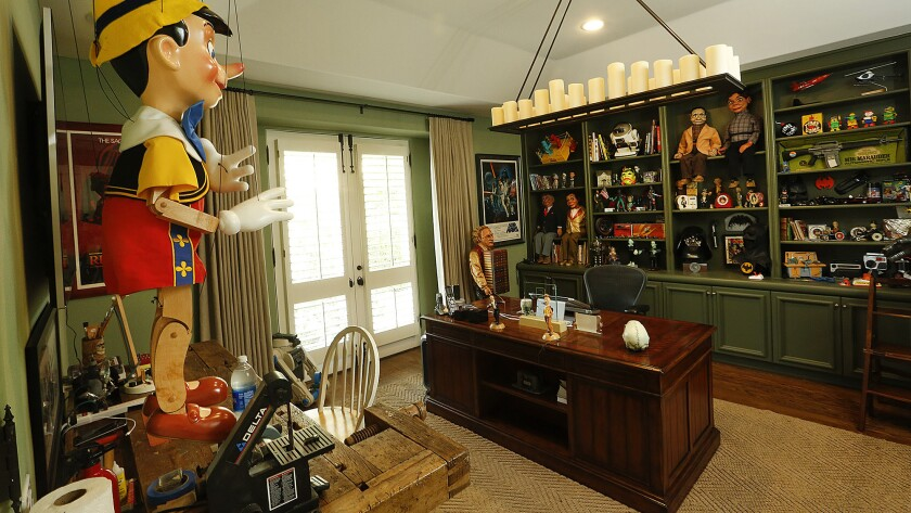 The comedian-ventriloquist's office at his home in Hidden Hills is full of toys that are there to inspire him.