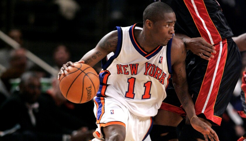 Jamal Crawford, driving around Heat center Udonis Haslem, scored 52 points for the Knicks during this game on Jan. 26, 2007.
