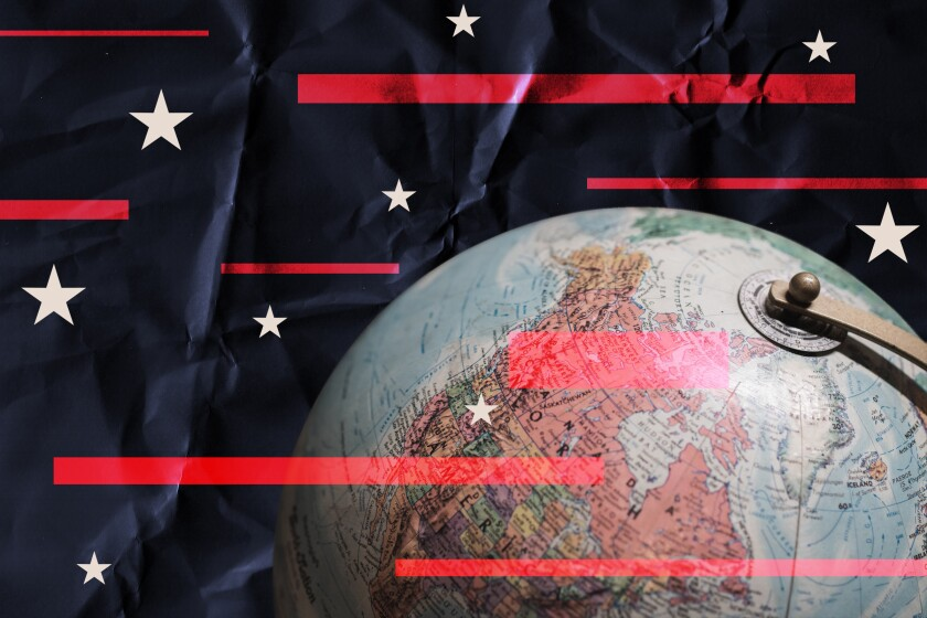 Photo illustration of a globe showing North America, with stars and stripes as background elements