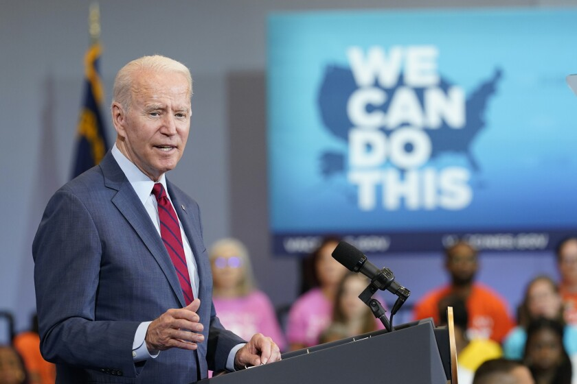 President Joe Biden speaks at the Green Road Community Center in Raleigh, N.C., Thursday, June 24, 2021. Biden is in North Carolina to meet with frontline workers and volunteers and speak about the importance of getting vaccinated. (AP Photo/Susan Walsh)