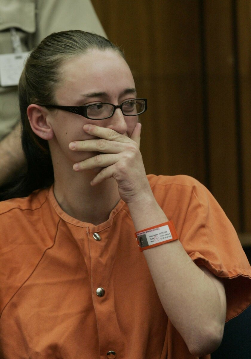 Heather Marie D'Aoust, 16, was ordered yesterday to serve 16 years to life in prison for the beating death of her mother in May 2008 in Scripps Ranch.