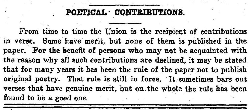 A notice explaining the Union's rule not to publish original poetry