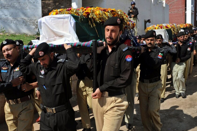 Funeral for five Pakistani police officers