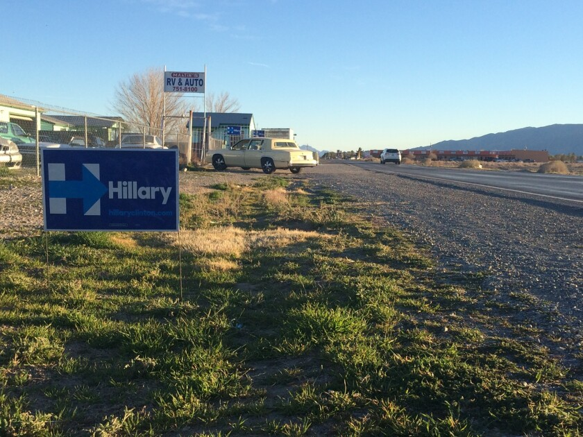 Signs in support of Hillary Clinton outside Martin's RV & Automotive Repair Center in Pahrump, Nev.