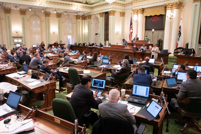 The California Assembly casts votes Sept. 12 at the state Capitol in Sacramento.