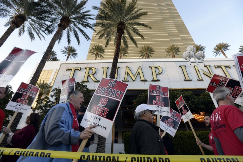 Hundreds of workers for the Culinary Workers Union protest outside the Trump International Hotel Las Vegas earlier this year.