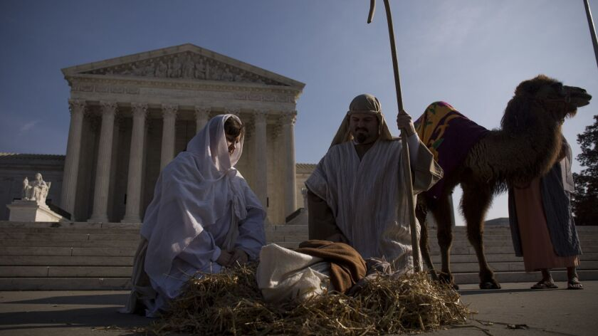 Liberty Counsel stages a live Nativity scene outside the U.S. Supreme Court.