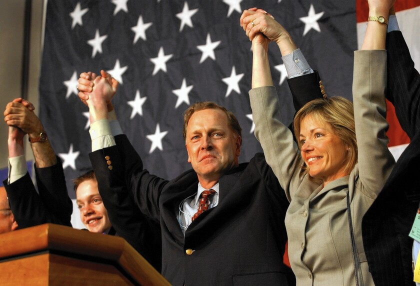 Palo Alto attorney Duf Sundheim, center, a former chairman of the California Republican Party, is considering running for the state's U.S. Senate seat.
