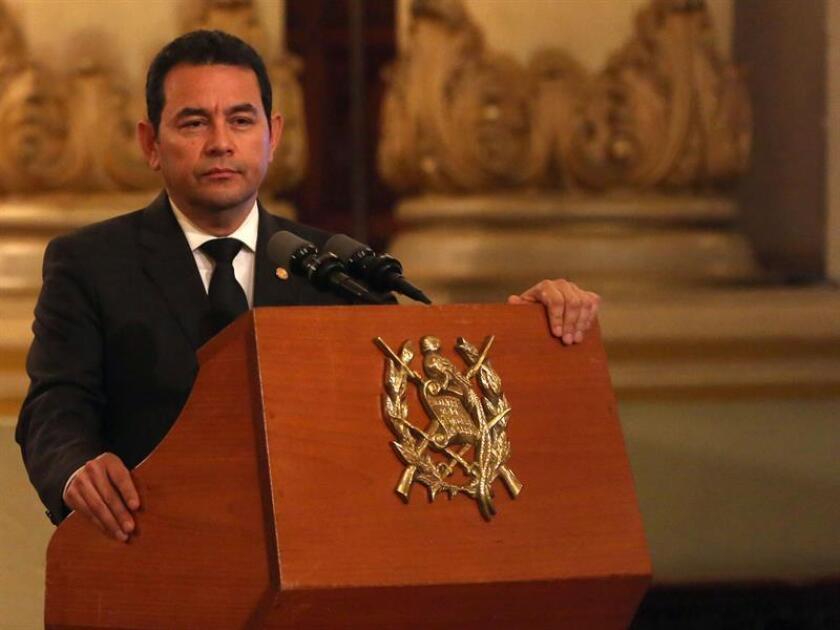 En la imagen un registro del presidente de Guatemala, Jimmy Morales. EFE/Archivo