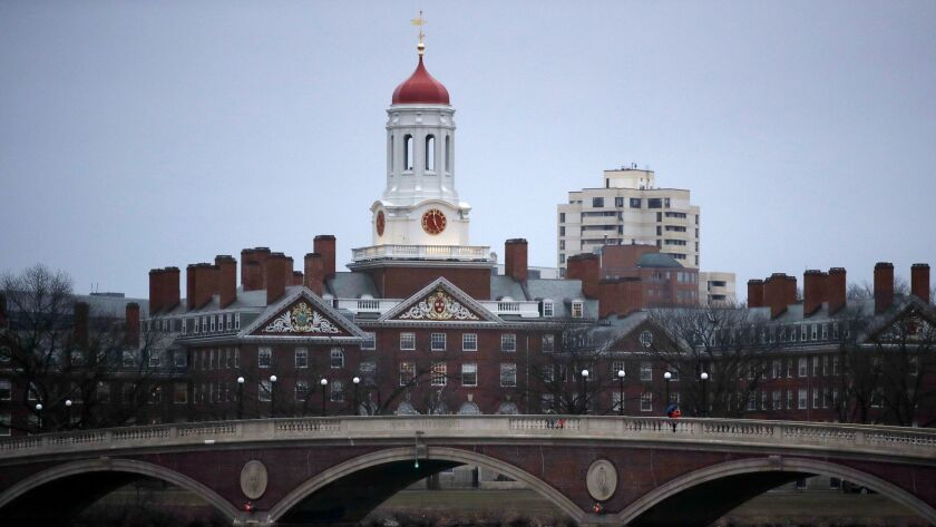 A view of the campus of Harvard University in Cambridge, Mass.