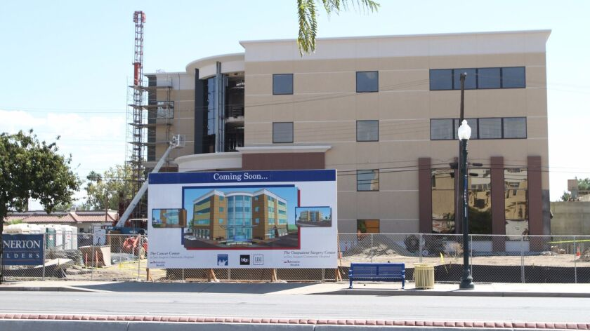 San Joaquin Community Hospital's new cancer center building, under construction in 2012