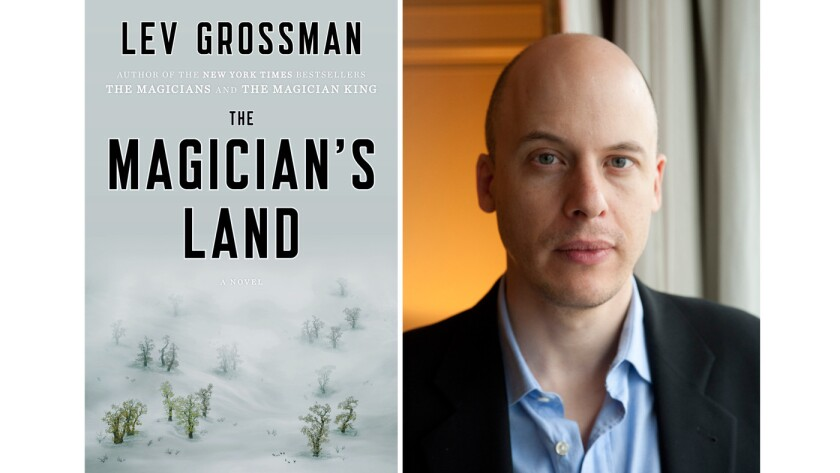 """The cover of """"The Magician's Land"""" and author Lev Grossman."""