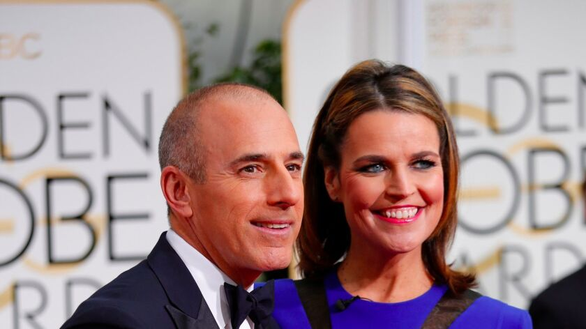 Matt Lauer and Savannah Guthrie at the 72nd Annual Golden Globe Awards show at the Beverly Hilton Hotel in 2015. Guthrie is represented by Headline Media Management, which is being absorbed by ICM Partners.